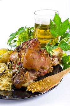 Pork Knuckle And Beer Royalty Free Stock Photography