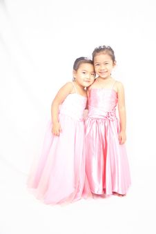 Free Two Asian Girls In Pink Clothes Posing Royalty Free Stock Image - 21273536