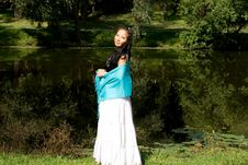 Beautiful Pregnant Girl Walking In Park Stock Images
