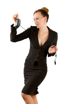 Free Sexy Secretary With A Computer Mouse Stock Photography - 21277922