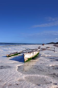Boat On The Beach Of Zanzibar