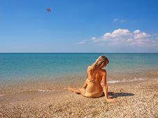 Free Beautiful Girl Relaxing On A Beach Royalty Free Stock Photos - 21279018