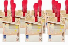 Free Money Laundry, Euro Banknotes On Clothespin Royalty Free Stock Images - 21279039
