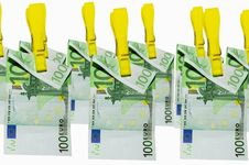 Free Money Laundry, Euro Banknotes On Clothespin Royalty Free Stock Images - 21279079