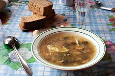 Free Mushroom Soup And A Glass Of Vodka Stock Photography - 21279962