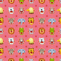 Free Cartoon Angry Animal Face Seamless Pattern Royalty Free Stock Image - 21284966