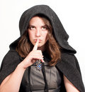 Free Woman In Hood Puts Forefinger To Lips Royalty Free Stock Photos - 21287998