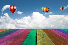 Multi Color Wooden Wooden View Of Cloudy Blue Sky Royalty Free Stock Photos