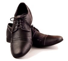Free Pair Of Black Male Shoes Stock Image - 21280781