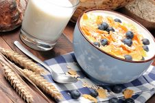 Free Healthy Breakfast With Cereals And Blueberries Royalty Free Stock Photo - 21282565