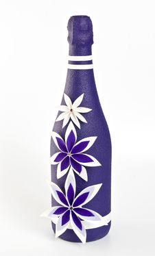 Bottle Of Champagne With Paper Purple And White Fl Royalty Free Stock Images
