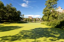 Harlem Meer In Central Park. Stock Photos