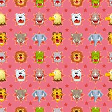 Cartoon Angry Animal Face Seamless Pattern Royalty Free Stock Image