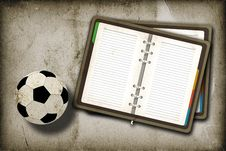 Free Football And Blank Notebook Royalty Free Stock Image - 21286246