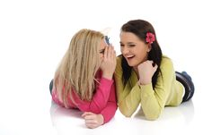 Free Two Young Pretty Girls Gossiping Royalty Free Stock Photos - 21286518