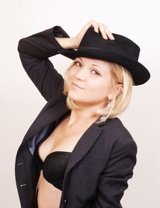 Free Sexy Blond Woman In Hat And Jacket On White Royalty Free Stock Photography - 21287927