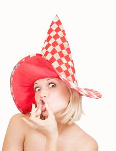 Free Woman In Red Hat Making A Funny Face On White Stock Photography - 21287932