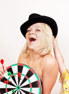 Free Woman Holds Board For Darts On White Stock Photos - 21287953