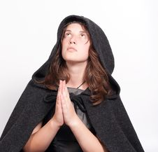 Free Praying Woman In Black Hood On White Stock Photos - 21288003