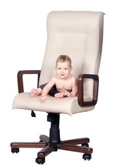 Free Baby Boss Sits In Office Chair On White Stock Photography - 21288022