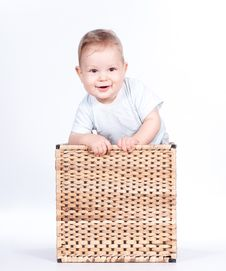 Free Baby Boy In Wicker Basket On White Royalty Free Stock Images - 21288109