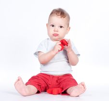 Free Baby Playing With Puzzle Heart On White Royalty Free Stock Image - 21288116