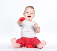 Free Baby Playing With Puzzle Heart On White Stock Photo - 21288120