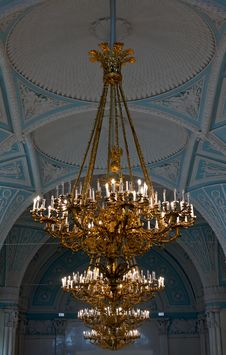 Gold Chandeliers In The Hermitage Royalty Free Stock Photos