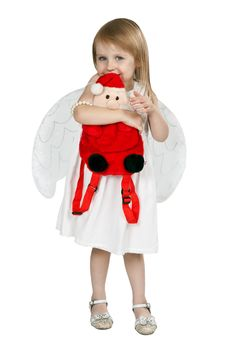 Free Little Girl With Angel Wings And A Red Santa Claus Royalty Free Stock Image - 21288386