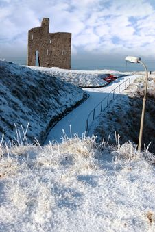 Free Christmasy View Of Ballybunion Castle Stock Image - 21288481