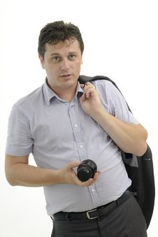 Free Young Photographer Showing Equipment Royalty Free Stock Image - 21288506
