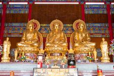 Free 3 Buddha Statue In Chinese Temple Royalty Free Stock Images - 21288539