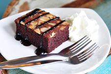 Free Brownies With Chocolate Sauce Stock Photo - 21288580