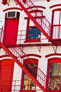 Free Fire Ladder At Old Houses Downtown Royalty Free Stock Photos - 21294608