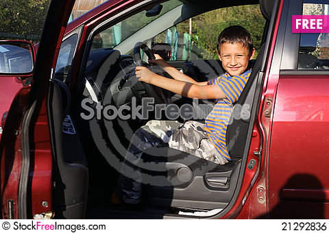 Free Boy Driver In Car Royalty Free Stock Image - 21292836