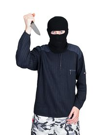 Bandit In Black Mask With Knife Royalty Free Stock Photo