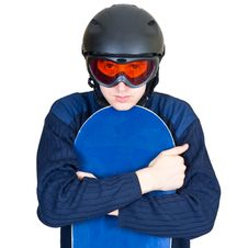 Portrait Of Boy In Sportswear With Snowboard Royalty Free Stock Photo