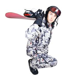 Free Portrait Of Boy In Sportswear With Snowboard Royalty Free Stock Image - 21290806