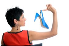 Free Beautiful Woman With Blue Shoe Royalty Free Stock Photography - 21292127