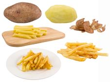 Free Fried Potato.Process Of Making Food On White Royalty Free Stock Photos - 21292178
