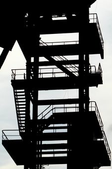 Free Derelict Coal Mining Tower. Silouette Stock Photos - 21292533