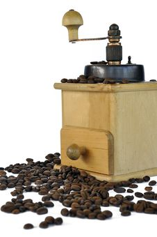 Free Coffee Grinder And Coffee Beans Royalty Free Stock Photography - 21292597