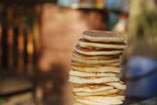Pile Of Thick Pancakes Royalty Free Stock Images