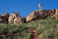 Free Woman On Top Of A Hill. Stock Photo - 21294550