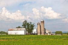 Free Farm House With Field And Silo Stock Photography - 21294792