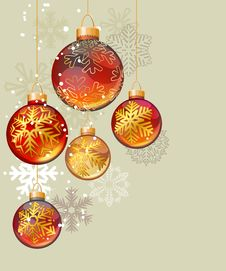 Free Christmas Background With Glass Balls Royalty Free Stock Photo - 21294825