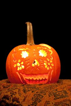 Smiling Jack O  Lantern With Candle Lit. Stock Images