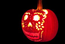 Smiling Jack O  Lantern With Candle Lit. Stock Photography