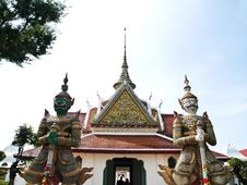 Double Giant Guard Statue At Wat Arun Bangkok Royalty Free Stock Photo