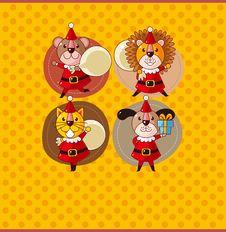 Free Cartoon Animal Santa Claus,xmas Card Royalty Free Stock Photography - 21295417